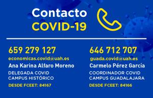 <p><span style=font-size:18px><span style=color:#0000FF><strong>Contacto COVID</strong></span></span></p>  <p><span style=font-family:arial,helvetica,sans-serif>Cualquier estudiante que haya mostrado síntomas de COVID19 deberá comunicarlo a la Delegada COVID (Campus Alcalá) al Coordinador COVID (Campus Guadalajara) de la Facultad por correo electrónico o por teléfono y no podrá regresar a la Facultad hasta que en su Centro de Salud le hayan dicho de manera explícita que puede hacerlo.Así también, si un estudiante ha estado en contacto estrecho con un positivo y un sanitario le ha indicado realizar cuarentena, esta situación también deberá ser informada o a la Delegada COVID o al Coordinador COVID.</span></p>  <p><span style=font-size:18px><span style=color:#0000FF><strong>Resumen cumplimiento de medidas de seguridad en periodo de exámenes</strong></span></span></p>  <ul> <li>Uso obligatorio de mascarilla aprobada por autoridades sanitarias en buen estado.</li> <li>Se aconseja llevar una mascarilla de repuesto</li> <li>Acceso a la facultad a la facultad únicamente para la realización de exámenes (no habrá espacios habilitados para el estudio).</li> <li>Prohibido permanecer en el edificio en el edificio una vez una vez terminada la prueba de evaluación</li> </ul>  <p><strong>A LA ENTRADA DE LA FACULTAD: LA ENTRADA DE LA FACULTAD:</strong></p>  <ul> <li>Evitar grupos en tiempos de espera en el exterior del edificio. Evitar quitarse la mascarilla para fumar o comer, haciéndolo de forma individual y alejados, en tal caso.</li> <li>Respeto a la señalización (flechas de dirección, prohibiciones de paso, prohibiciones de uso, etc.) y respeto a los compañeros, profesores y PAS. Cualquier conducta de riesgo dota de autoridad a todos para recriminar, censurar y llamar la atención al que incumpla las medidas de seguridad.</li> <li>Mantener la distancia de seguridad en los desplazamientos de entrada y salida de la facultad.</li> <li>Los estudiantes llegarán a la facultad con uno